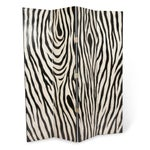 Image of Eggshell and Lacquer Zebra Pattern Four Panel Folding Screen