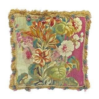 Antique Tasseled Floral Aubusson Pillow