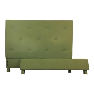Contemporary Green Upholstered King Sized Bed Frame