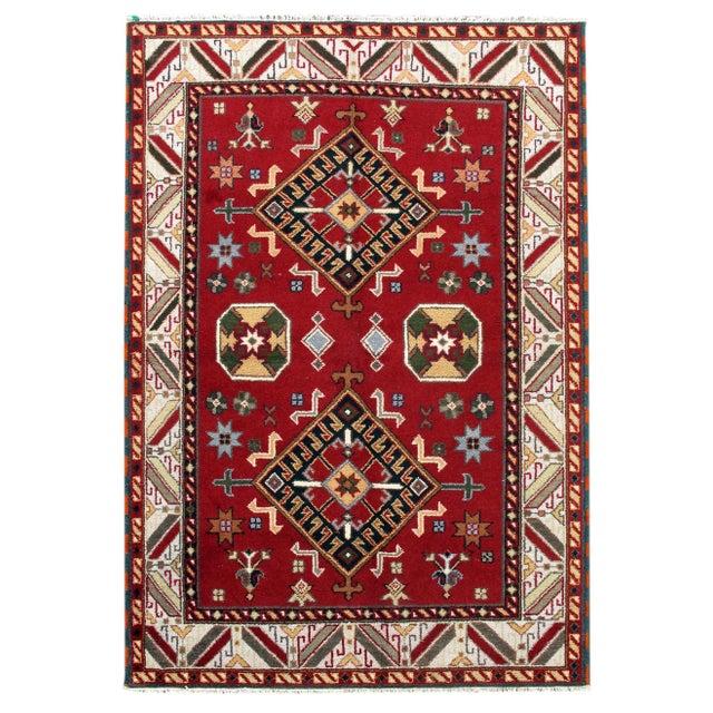 Apadana - Diamonds on Red 6 x 8 Kazak Rug - Image 1 of 1