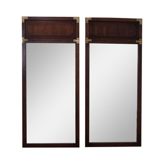 Vintage Walnut Campaign Style Mirrors - A Pair