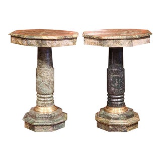 19th Century Italian Carved Octagonal Green Marble Pedestals - A Pair