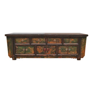 Mongolian Painted Cabinet With Drawers