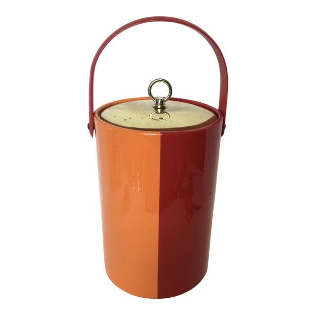 Mid-Century Red & Orange Striped Vinyl Ice Bucket - Image 1 of 6