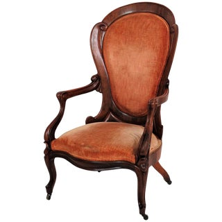 John Henry Relic Style Walnut Upholstered Man's Chair