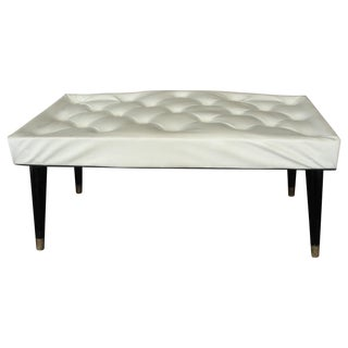 Vintage Pearl Wick Hollywood Regency Tufted Bench