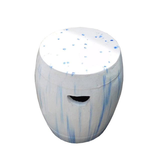 Chinese White & Blue Ceramic Garden Stool - Image 4 of 6