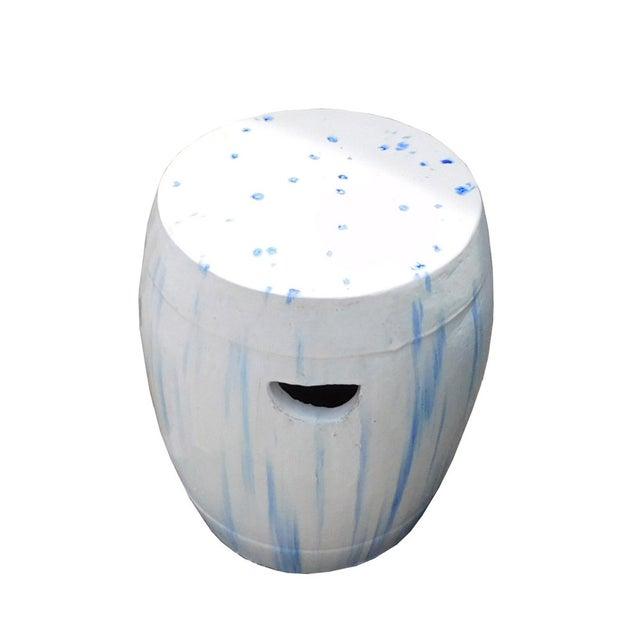 Image of Chinese White & Blue Ceramic Garden Stool