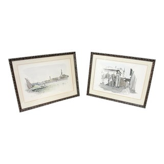 Framed Pen & Ink Watercolors - a Pair
