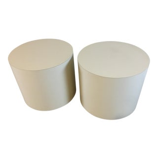 Vintage Round Laminate Side Tables - A Pair