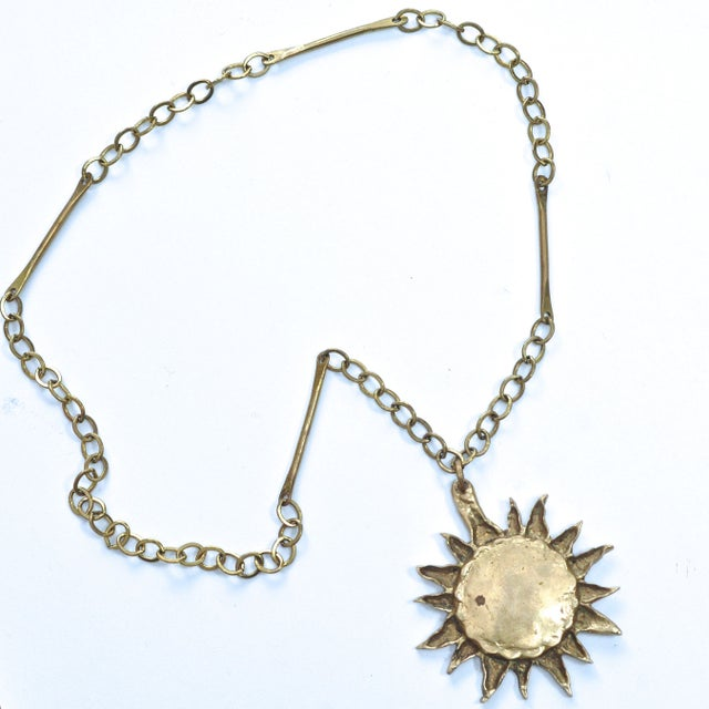 Image of 1960s Brass Sun Medallion