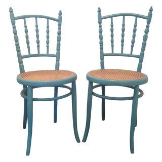 Vintage Teal Bistro Chairs - A Pair