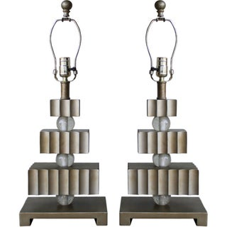 Hollywood Regency Three Tier Table Lamps - A Pair