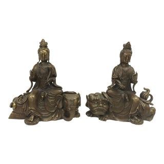 Gold Gilt Kwan Ying on Elephant & Foo Dog Figurines - A Pair