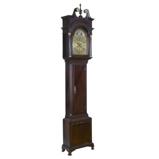 Mahogany Chippendale English Tall Case Clock with Tides