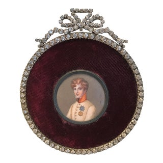 Antique Louis XVI Napoleon Portrait Miniature in French Paste Jeweled Frame