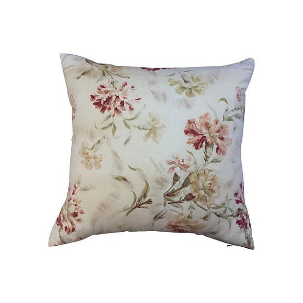 French Faded Floral Pillows - Pair - Image 2 of 5