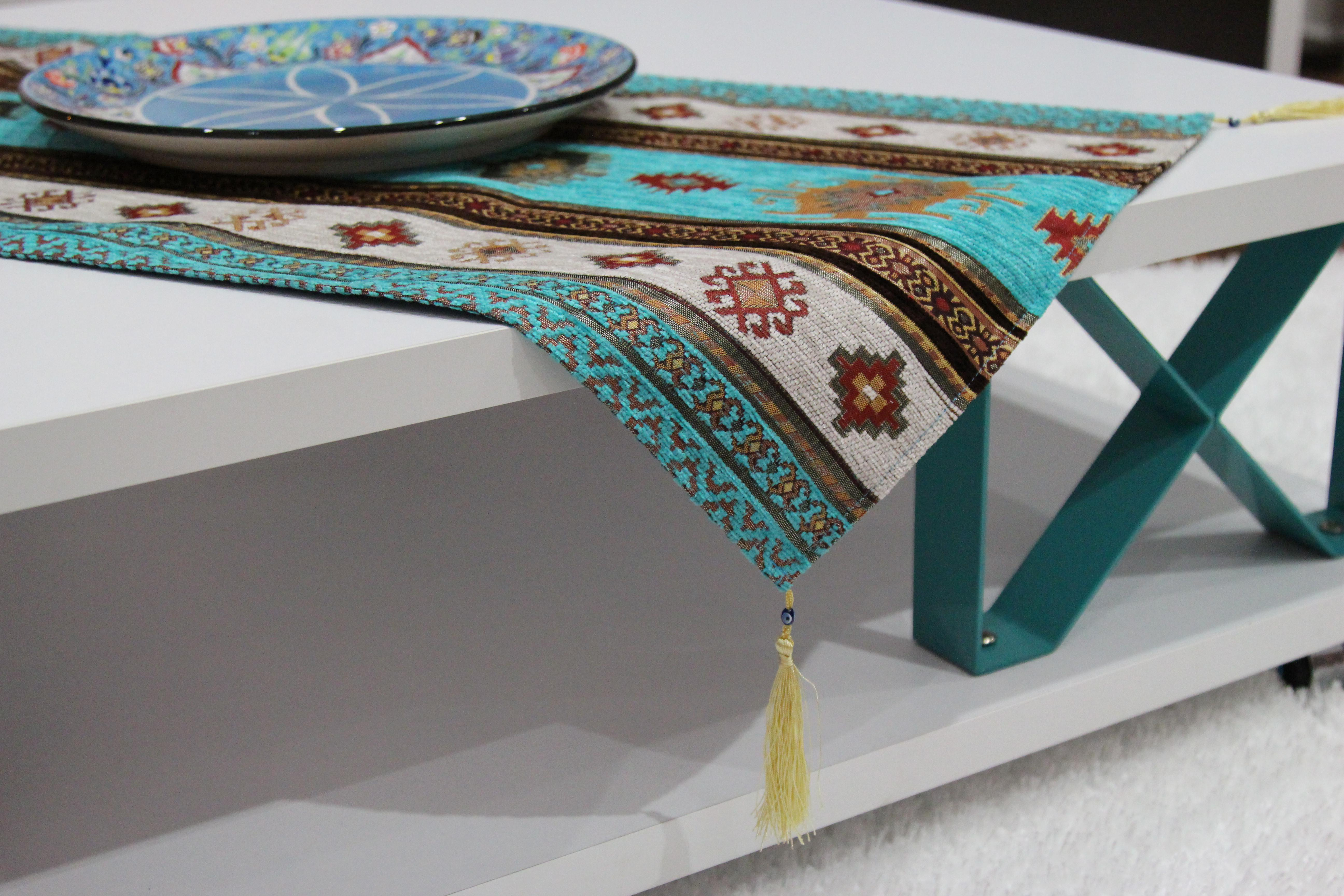 Turkish Red, Gold U0026 Turquoise Kilim Table Runner   Image 8 Of 10