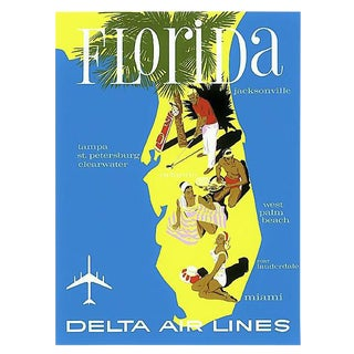 Matted and Framed Vintage Florida Travel Poster