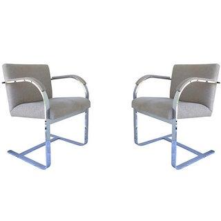 Flat-Bar Chrome Arm Chairs - Pair