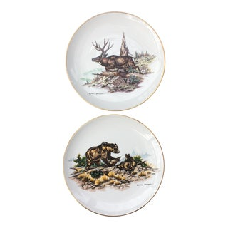 Rustic Cabin Wildlife Plates - a Pair