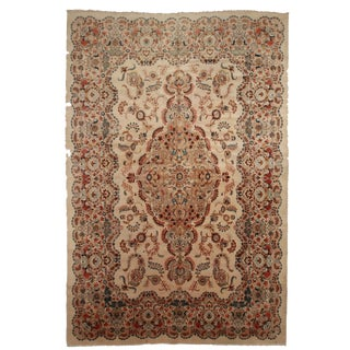 Vintage Persian Kashan Hand Knotted Wool Rug- 10′8″ × 16′