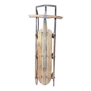 Vintage Weathered Wood & Metal Runner Sled -- Lightning Guider