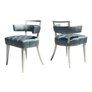 Set of Four Billy Haines Biscuit Tufted Side / Dining Chairs