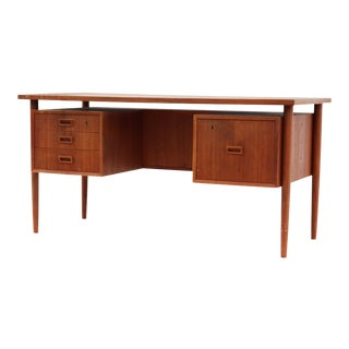 Danish Teak Desk with Floating Top and Bookcase Front
