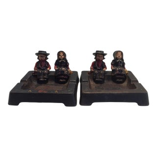 Cast Iron Hand Painted Ashtrays By Wilton - A Pair