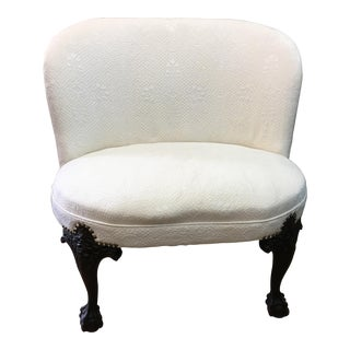 Embroidered Cream Upholstered Settee
