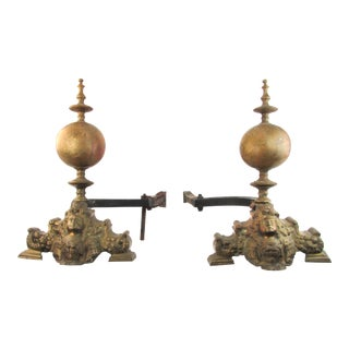 Antique Brass Andirons, Pair
