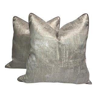 Silver Textured Silk Pillows - A Pair