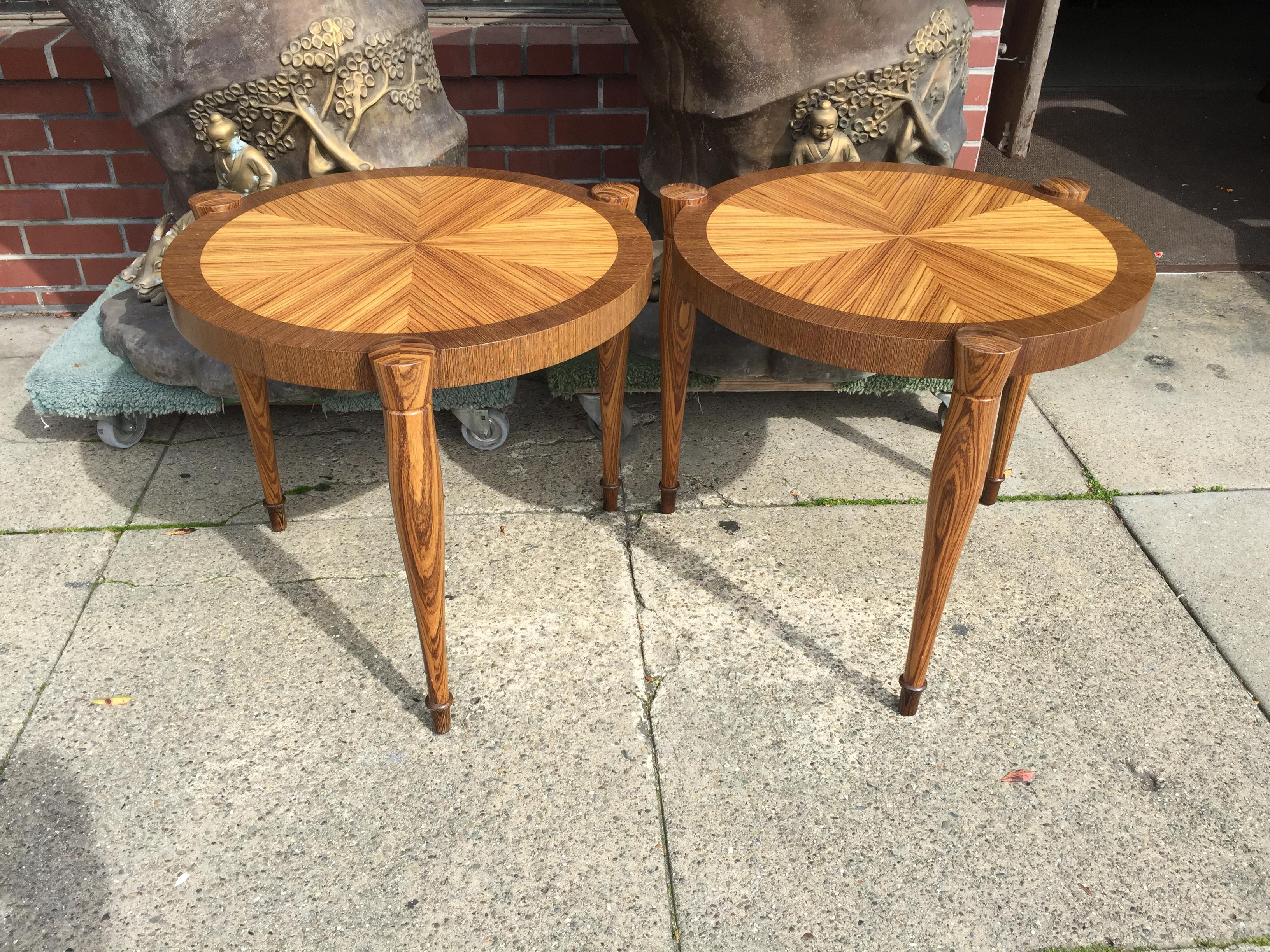 Art Deco Zebra Wood End Tables   A Pair   Image 2 Of 5