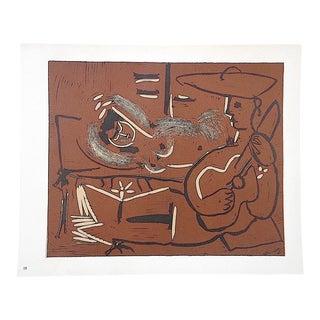 """Vintage Picasso Lithograph-""""Femme Couchee Et Guitariste"""""""