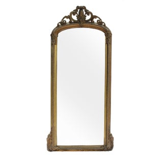 Gilded Baroque-Style Mirror with Crest