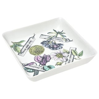 "Italian Fornasetti Porcelain ""Botanica Pratica"" Square Bowl or Serving Piece"