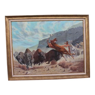 Monumental 20th Century Western Oil Painting