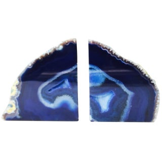 Blue Agate Bookends - Pair