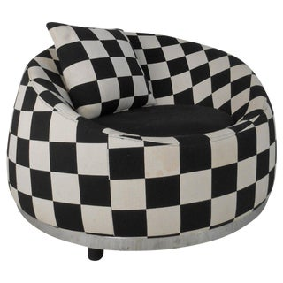 Checkered Contemporary Modern Italian Club Chair