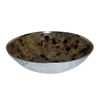 Shell Mosaic & Metal Tabletop Bowl