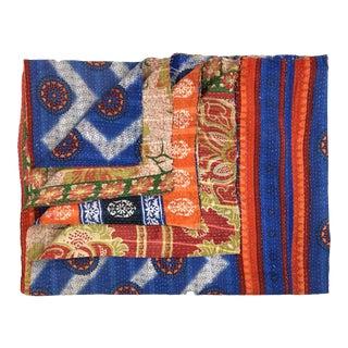 ZigZag and Floral Vintage Kantha Quilt