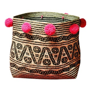 Borneo Tribal Straw Basket - with Handmade Dragon Fruit Pink Pom-poms