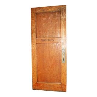 Vintage Oversized Wood Women's Restroom Door