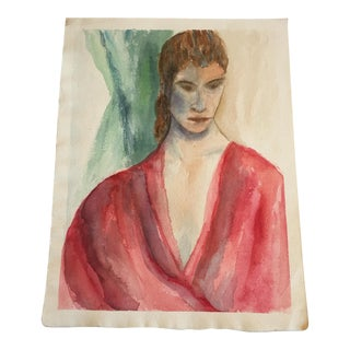 Vintage Red Top Female Watercolor Painting