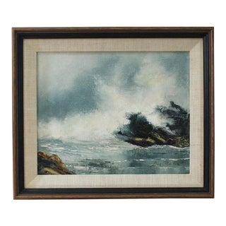 Vintage Mid-Century Modern Ocean Scene Oil Painting