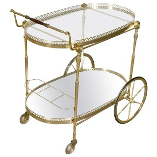 Mid-Century French Faux Bamboo Bar Cart or Serving Trolley by Maison Baguès