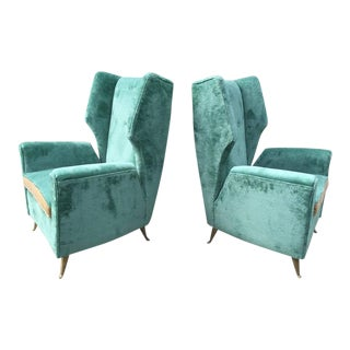 Gio Ponti attrib. Pair of Vintage Italian Armchairs 'Original Fabric'