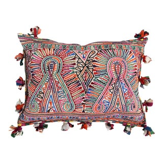 Embroidered Tassel Pillow
