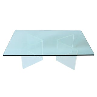 1970s Lucite & Glass Coffee Table